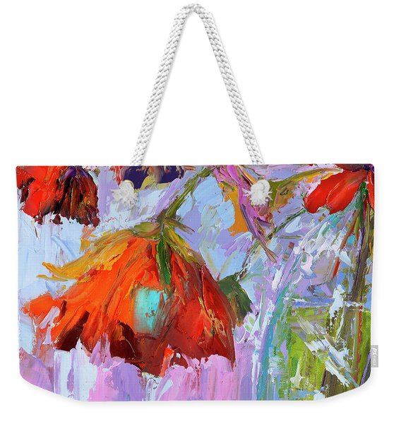 Blossom Dreams In A Vase Oil Painting, Floral Still Life Weekender Tote Bag