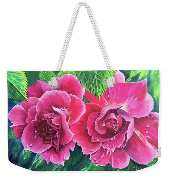 Weekender Tote Bag featuring the painting Blossom Buddies by Nancy Cupp