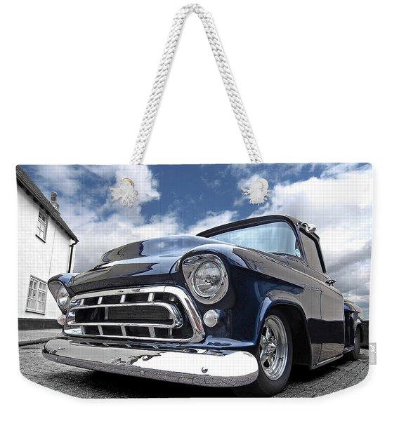Blue 57 Stepside Chevy Weekender Tote Bag