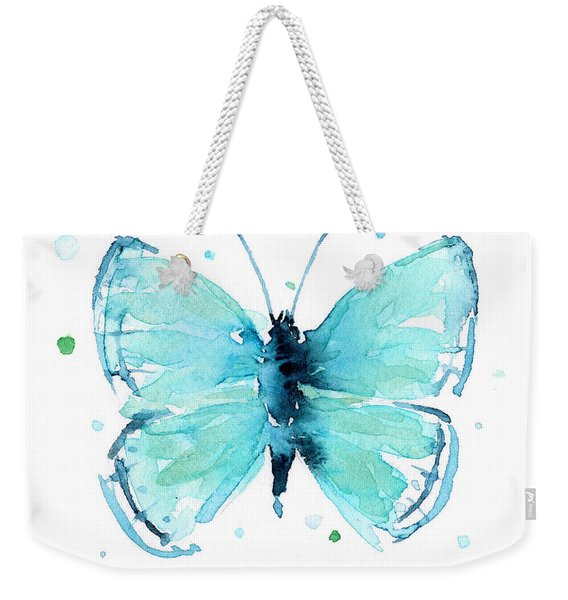 Blue Abstract Butterfly Weekender Tote Bag