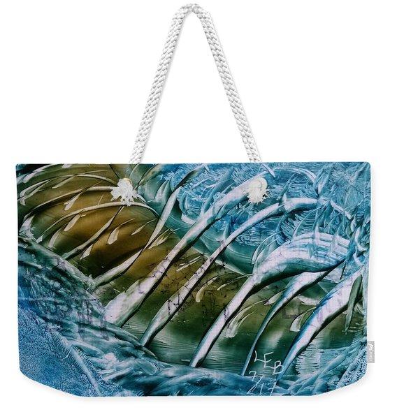 Blue Abstract Dark Ribbon Centre Weekender Tote Bag