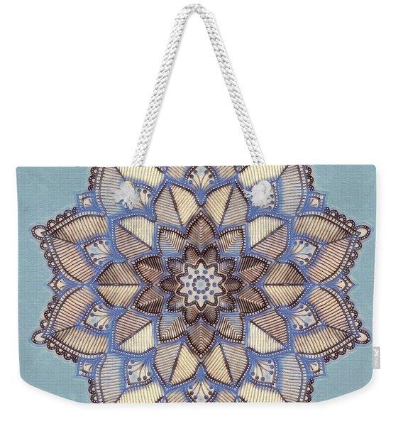 Blue And White Mandala Weekender Tote Bag