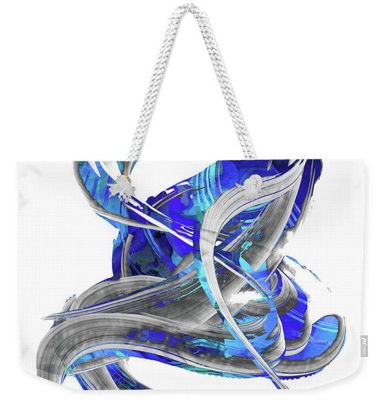 Blue And Gray Art - Flowing 3 - Sharon Cummings Weekender Tote Bag