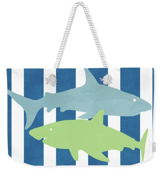 Blue And Green Sharks- Art By Linda Woods Weekender Tote Bag