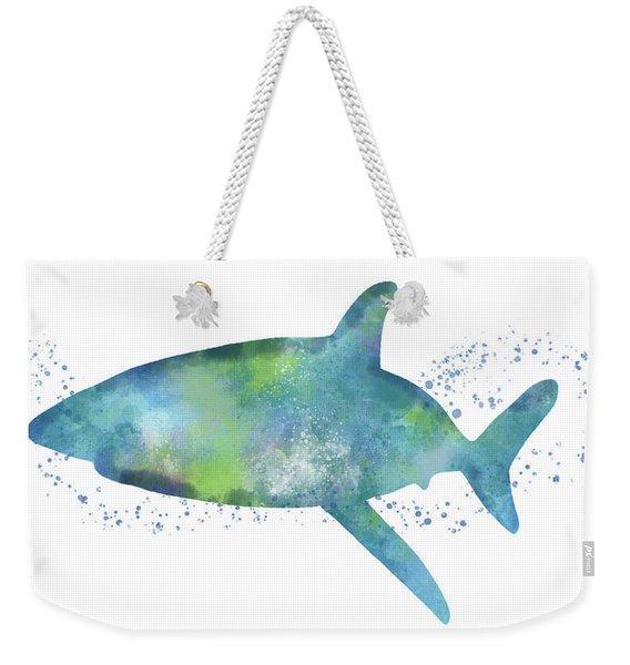 Blue And Green Watercolor Shark 1-art By Linda Woods Weekender Tote Bag