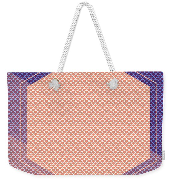 Blue And Orange Scallop Hexagon Weekender Tote Bag