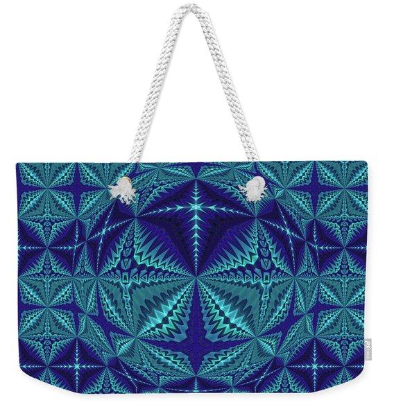 Blue And Turquoise Symmetrical Pattern, Kaleidoscope Weekender Tote Bag