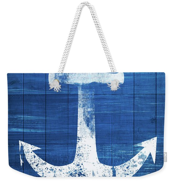 Blue And White Anchor- Art By Linda Woods Weekender Tote Bag