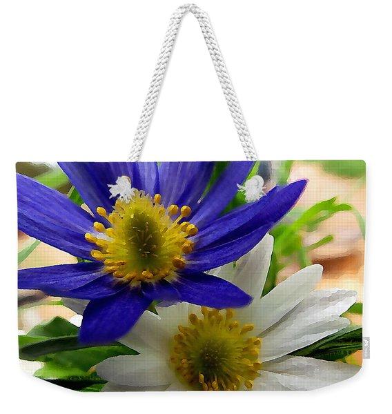 Blue And White Anemones Weekender Tote Bag