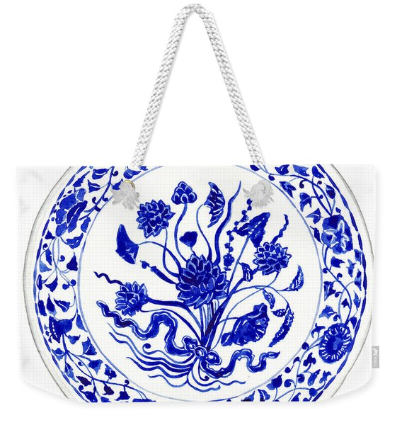 Blue And White Chinese Chinoiserie Plate 4 Weekender Tote Bag