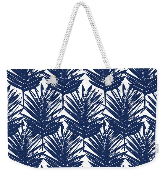 Blue And White  Palm Leaves 3 - Art By Linda Woods Weekender Tote Bag