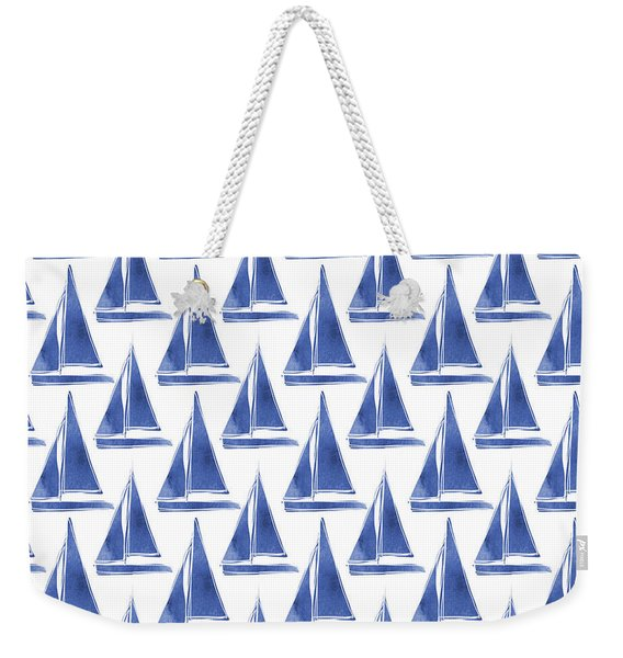 Blue And White Sailboats Pattern- Art By Linda Woods Weekender Tote Bag