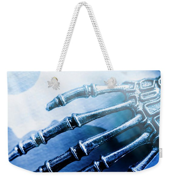 Blue Android Hand Weekender Tote Bag
