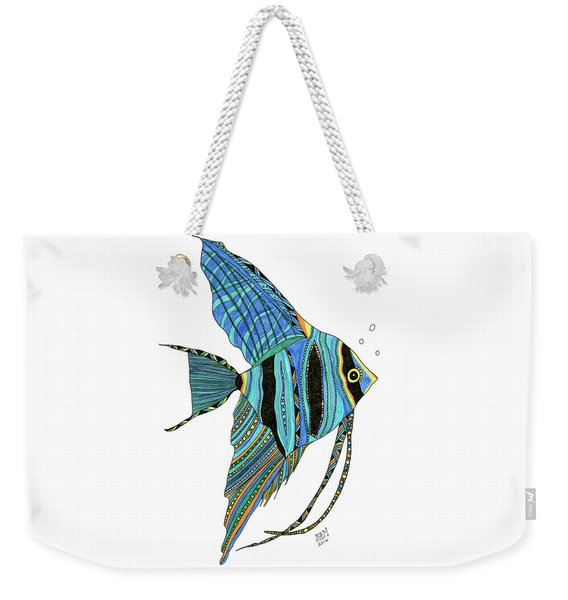 Weekender Tote Bag featuring the drawing Blue Anglefish by Barbara McConoughey