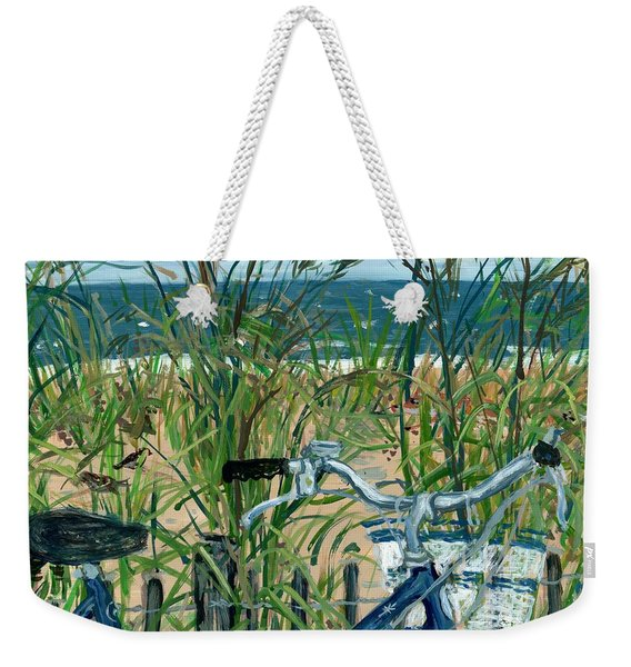 Blue Bike At Rehoboth Weekender Tote Bag
