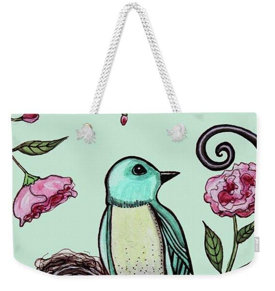 Blue Bird And Peonies Weekender Tote Bag