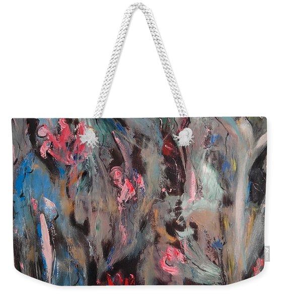 Blue Bird In Flower Garden Weekender Tote Bag