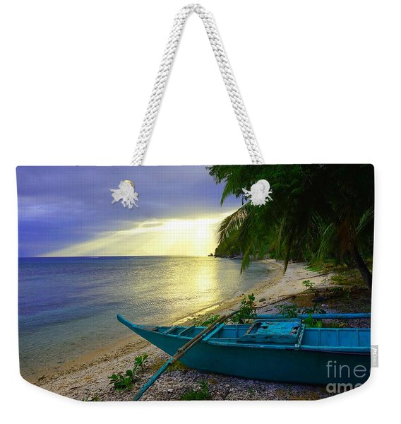 Blue Boat And Sunset On Beach Weekender Tote Bag