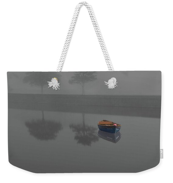 Blue Boat In Fog Weekender Tote Bag