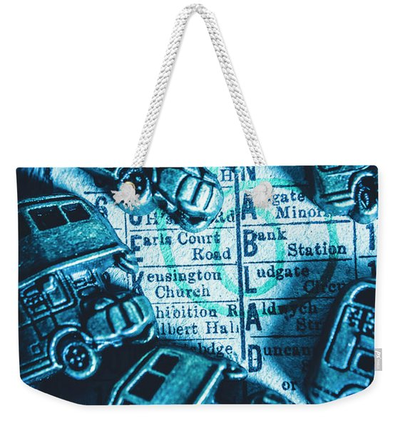 Blue Britain Bus Bill Weekender Tote Bag
