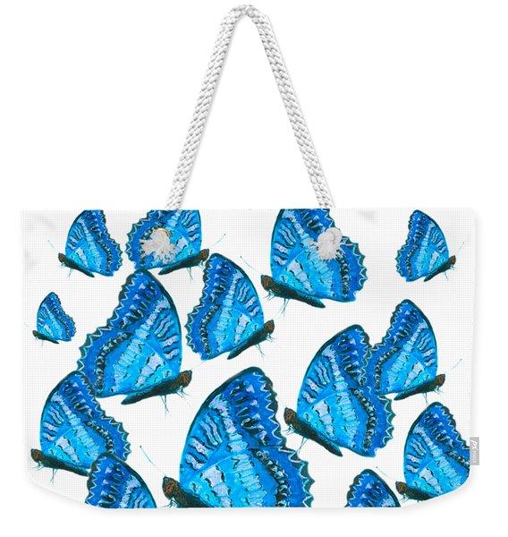 Blue Butterflies Weekender Tote Bag
