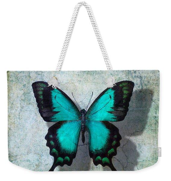 Blue Butterfly Resting Weekender Tote Bag