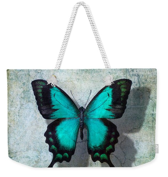 Blue Butterfly Resting Weekender Tote Bag