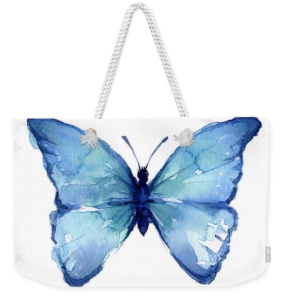 Blue Butterfly Watercolor Weekender Tote Bag