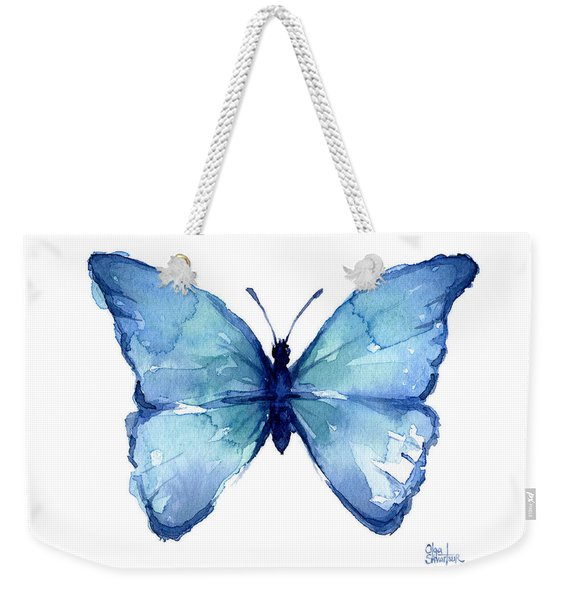 Blue Butterfly Watercolor Weekender Tote Bag