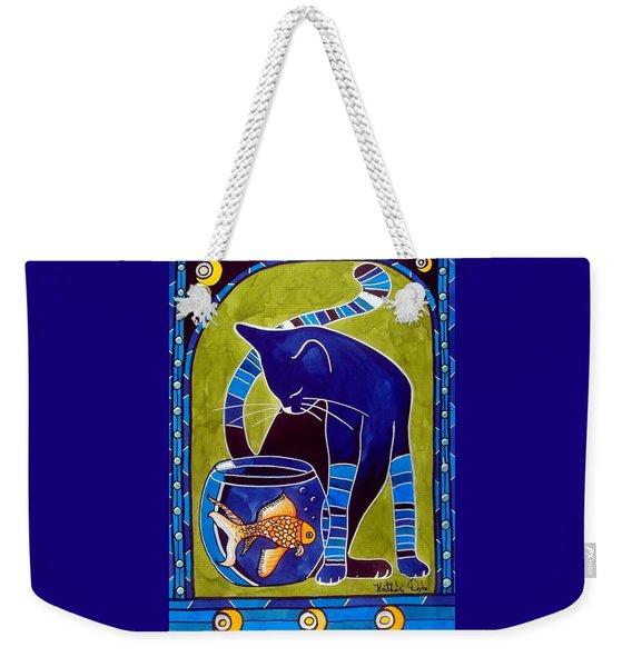 Blue Cat With Goldfish Weekender Tote Bag