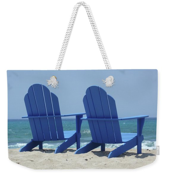 Weekender Tote Bag featuring the photograph Blue Chairs by Frank DiMarco