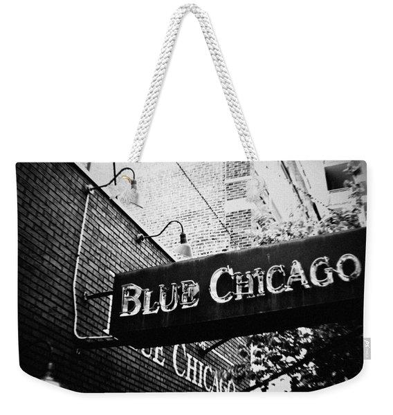 Blue Chicago Nightclub Weekender Tote Bag