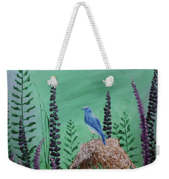 Blue Chickadee Standing On A Rock 2 Weekender Tote Bag