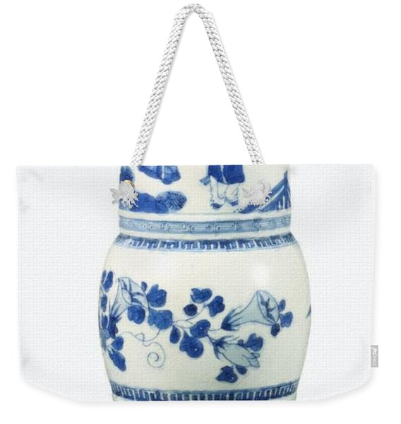 Blue  Chinese Chinoiserie Pottery Vase No 3 Weekender Tote Bag