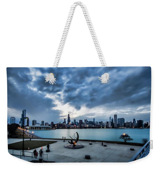 Blue Clouds And Chicago Skyline Weekender Tote Bag
