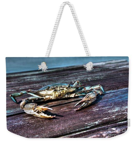Blue Crab - Above View Weekender Tote Bag