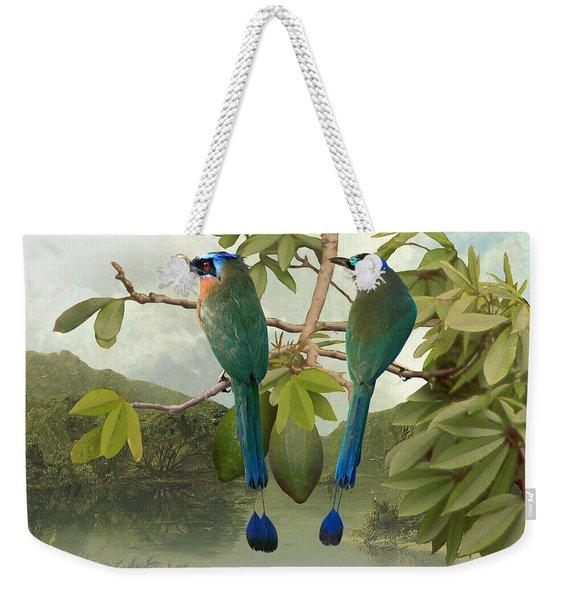 Blue-crowned Motmots In Kapok Tree Weekender Tote Bag