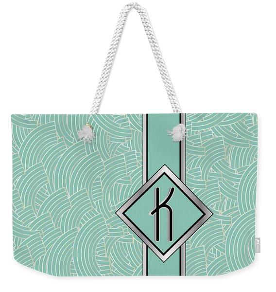 1920s Blue Deco Jazz Swing Monogram ...letter K Weekender Tote Bag