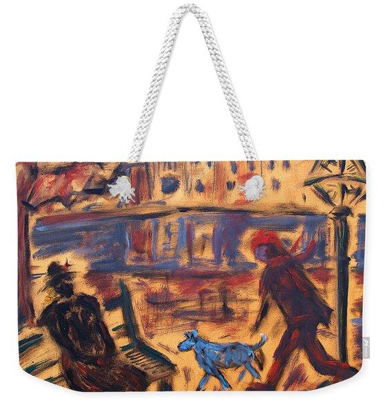 Blue Dog In The City Weekender Tote Bag