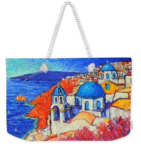 Blue Domes In Oia Santorini Greece Original Impasto Palette Knife Oil Painting By Ana Maria Edulescu Weekender Tote Bag