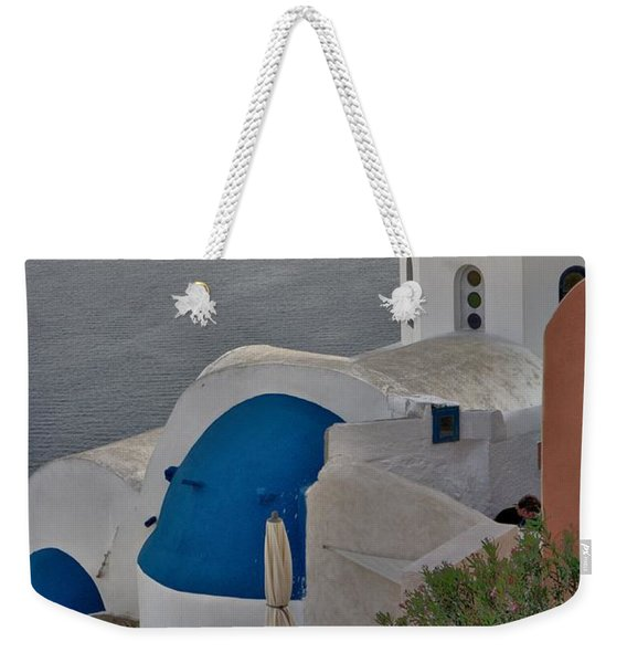 Weekender Tote Bag featuring the photograph Blue Domes by Jeremy Hayden