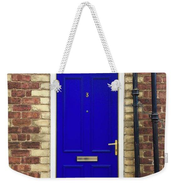 Blue Door Number 3 Weekender Tote Bag