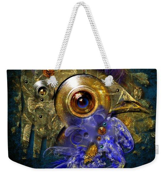 Blue Eyed Bird Weekender Tote Bag