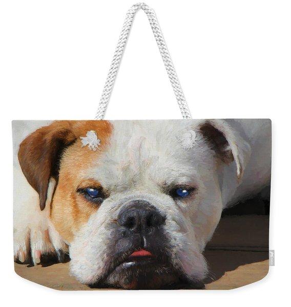 Blue-eyed English Bulldog - Painting Weekender Tote Bag