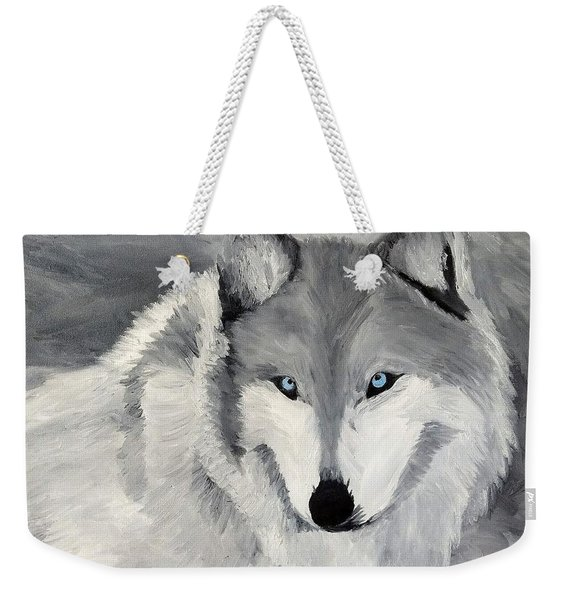 Weekender Tote Bag featuring the painting Blue Eyes by Kevin Daly