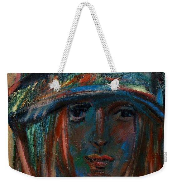 Blue Faced Girl Weekender Tote Bag