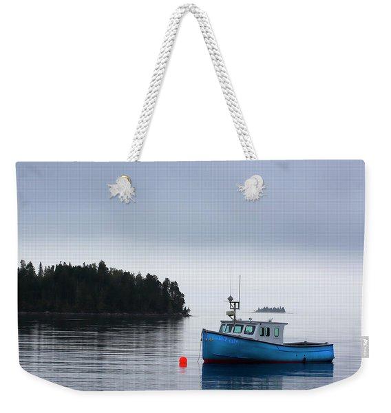Blue Fishing Boat In Fog Weekender Tote Bag
