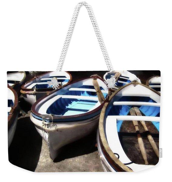 Blue Fishing Boats Weekender Tote Bag