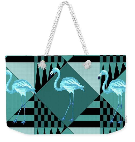 Blue Flamingo Weekender Tote Bag