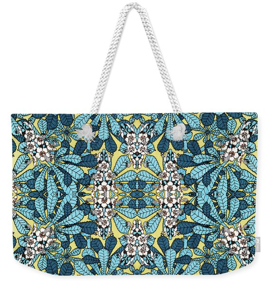 Blue Floral Leaf Pattern Weekender Tote Bag